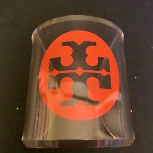 Tory Burch Orange Logo Clear Lucite Bracelet